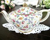 Gorgeous Vintage Sadler Chintz Wildflowers on Butter Background Footed Teapot Tea Pot  7360