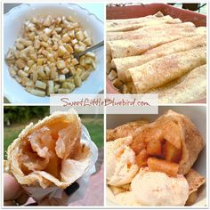 BAKED APPLE PIE TORTILLA ROLLS! My go-to fall dessert! Simple to make! Use apple pie filling from scratch or canned! Enjoy hot or cold! Great served warm with vanilla ice cream or wrapped in wax paper in your hand. So good.