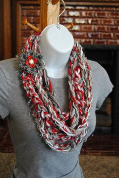 OSU Ohio State Buckeyes Infinity Scarf - Scarlet and Gray Fringe Crochet Knotted Loop Wrap Red Gray Silver Chain Knit Scarf - Go Bucks! by AutismLoveHope on Etsy https://www.etsy.com/listing/176319107/osu-ohio-state-buckeyes-infinity-scarf