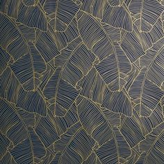 CB2 Palm Navy And Gold Self-Adhesive Wallpaper ($100) ❤ liked on Polyvore featuring home, home decor, wallpaper, dark blue wallpaper, removable wallpaper, gold pattern wallpaper, cb2 and leaves wallpaper