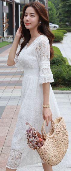 StyleOnme_Full Lace Long Dress #ivory #lace #dress #feminine #koreanfashion #kstyle #kfashion #summertrend #dailylook