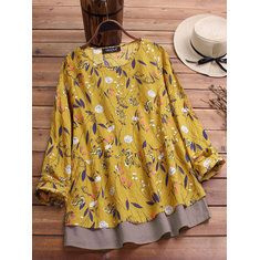 oversized ONLY FOR YOU 58693 - NEWCHIC Mobile Floral, Plus Size, Long Sleeve, Stuff To Buy, Tops, Women, Fashion, Crew Neck, Full Sleeves