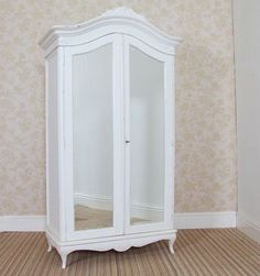 ♥FRENCH SHABBY CHIC DOUBLE 2 DOOR WARDROBE / ARMOIRE WHITE PAINTED DISTRESSED♥
