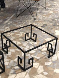 Welded Furniture, Industrial Design Furniture, Iron Furniture, Steel Furniture, Home Decor Furniture, Unique Furniture, Furniture Design, Modern Square Coffee Table, Tea Table Design