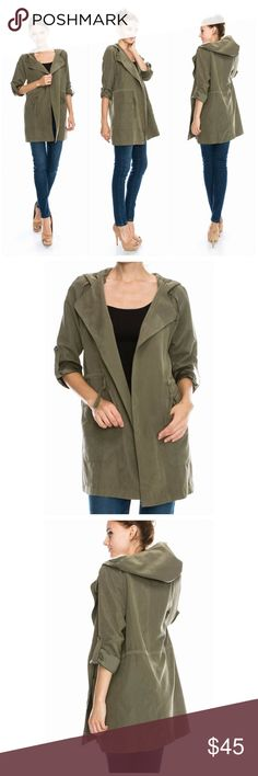 Olive green Trench coat with hood Olive green Super Comfy and very soft Trench coat with hood. Roll up sleeves with button. Pockets up front. These beautiful jackets came without a tag. Different sizes available  Boutique Jackets & Coats Trench Coats