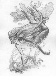 Mark Zug art and illustration - Zbooks - Freshwater Nixie Magical Creatures, Fantasy Creatures, Spiderwick, Mermaids And Mermen, Merfolk, Mythological Creatures, Fantastic Beasts, Creature Design, Faeries