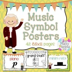 42 Music Symbol Posters {8.5×11} {Color & BW, American & I