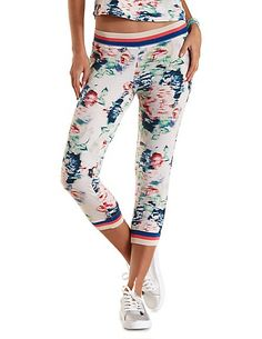 Floral Print French Terry Jogger Pants: Charlotte Russe #floral #joggers