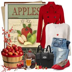 Apple Picking by brendariley-1 on Polyvore featuring Pinko, Hobbs, Steven by Steve Madden, Mulberry, Marc by Marc Jacobs, Estée Lauder, Crabtree & Evelyn, Stupell, Nearly Natural and Gap