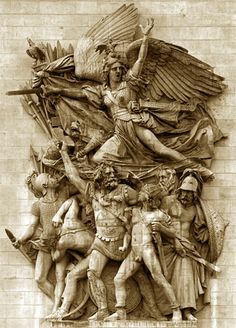 La Marseillaise by Rude (Romanticism). This is from one side of the Arc de Triomphe in France. It is an allegory of the national glories of revolutionary France. It depicts the Roman goddess of war (Bellona) soaring above the patriots and urging them on. The figures recall classical forms and the Roman armor on the front figure is especially reminiscent of the classical past. However, the violent motion and overlapping masses demonstrate the dramatic tendencies of Romanticism.
