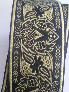 2 inch Wide Black and Gold Floral Explosion Jacquard Ribbon Trim SCA LARP, Medieval, Renaissance, Fantasy $3.50/yd + $2s
