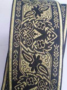 2 inch Wide Black and Gold Floral Explosion Jacquard Ribbon Trim SCA LARP, Medieval, Renaissance, Fantasy