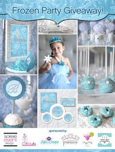 GIVEAWAY Frozen Party Package!In celebration of Soiree Event Design's FROZEN PARTY Trend Alert on the HWTM this week and the release of her brand new ICE PRINCESS PRINTABLE COLLECTION, I'm teaming up with a few of the vendors from the Frozen Party Sweets Table to giveaway a FROZEN PARTY PACKAGE full of some of the items showcased in the post. This is a great party with some fabulous items. One Lucky winner will be very happy!