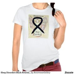 """#SleepDisorders Black Awareness Ribbon #Angel Shirt - Sleep Disorders uses a black awareness ribbon. The angel t-shirt features the painting of a black awareness ribbon angel. T-shirt words state """"Sleep Disorders Awareness""""; however, it can be can be customized with your own message and custom words."""