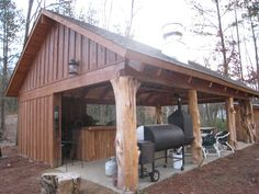 Rustic but cool.  Love the large tree trunks as post.  I would use cedar post and a rusty tin roof.