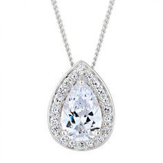 Simply Silver Sterling silver cubic zirconia peardrop surround necklace- at Debenhams.com