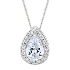 Simply Silver Sterling silver cubic zirconia peardrop surround necklace- at Debenhams.com