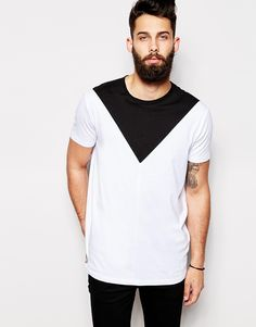 Image 1 of ASOS Longline T-Shirt With Triangle Cut And Sew Panel