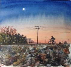 """The End Of The Day  Watercolor Painting Original Small Artwork 6.1/2"""""""" X 6""""  