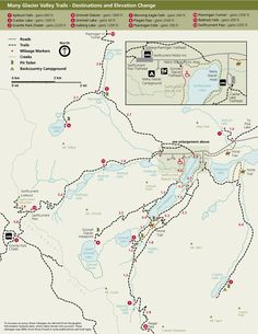 Glacier National Park Online Hiking Maps -- www.gov/glac -- Map with labels and trails marked as dotted lines Glacier National Park Montana, Glacier Park, Yellowstone Vacation, Yellowstone Camping, Many Glacier, Best Places To Camp, Us National Parks