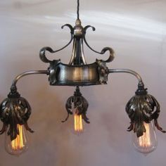 Run of seven, three arm ceiling lights - Exeter Antique Lighting Company Antique Ceiling Lights, Antique Lighting, Acanthus, Exeter, Sconces, Wall Lights, Arms, Bulb, Chandelier