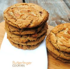 Chewy Butterfinger cookies: loaded with candy bars and flavor! www.shugarysweets.com
