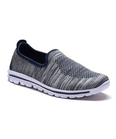 Gray & Navy Slip-On Sneaker - Women