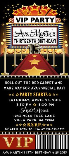 Red Carpet Star Birthday Party Ticket Invitation: