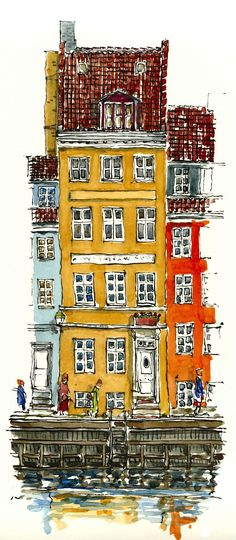 A collection of watercolors by Frits Ahlefeldt, From Christianshavn, Copenhagen, Denmark Watercolor Architecture, Architecture Drawings, Watercolor Landscape, Watercolor And Ink, Watercolor Trees, Simple Watercolor, Tattoo Watercolor, Watercolor Animals, Watercolor Background