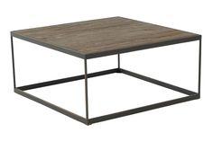 Alm bordplate, understell i lakkert stål.