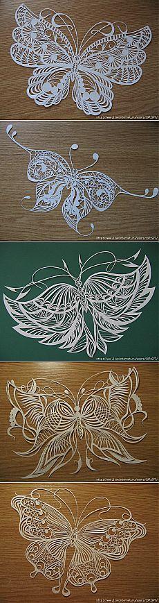 Изумительной красоты бабочки-вытынанки Анастасии Махнач.