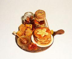 Dollhouse miniature Honey fritters with honey and bananas,jars of honey1:12 | by Victoria Кova