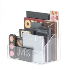 """""""Sophie Makeup Palette Holder"""" stores all your makeup palettes for easy access. It has 3 sections to help keep you organized. Designed for you to clearly see your makeup. The """"Acrylic Modular Storage"""