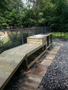 Dog Bath - Garden Planting Station, This is our new pet washing and planting table. The walk up ramp serves as the perfect solution to bathi...