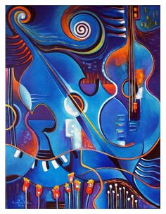 Original Modern Abstract Oil Painting on canvas by MarlinaVera, Music Artwork, Art Music, Musik Illustration, Clock Art, Guitar Art, Arte Pop, Oil Painting Abstract, Fine Art Gallery, Poster