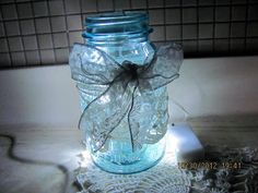 Ball Quart Mason Jar with Ecru Lace and White by VintageLoversShop, $20.00