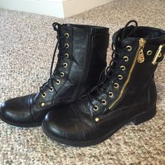 "Guess Combat Boots Black Gold Detail Sz 8M Super hip Guess ""Berlyn"" black combat boots with gold detail. Zips on the side. Gently worn (worn maybe twice) and super comfy! Size 8M. Fits true to size. Purchase 3+ items and save 10%. Guess Shoes Combat & Moto Boots"