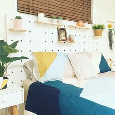 My first ever #kmarthack! Pegboard bed head. What do you think??
