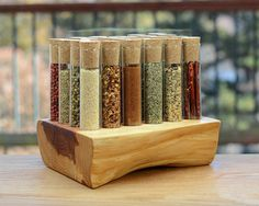 Wave Test Tube Spice Rack Aromatic Red Cedar by TheTubularSpiceCo