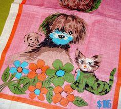 Vintage tea towel!  Find out more at http://OctopusPieStudios.blogspot.com