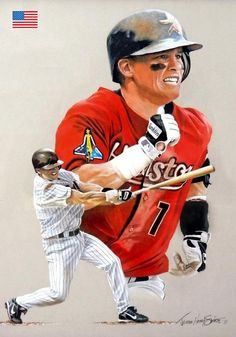 Craig Biggio, Astros by James Henry Smith. Baseball Painting, Baseball Art, Mlb Players, Baseball Players, Diamonds In The Sky, World Of Sports, Sports Stars, Felt Art, Henry Smith