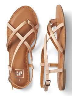 Gap Womens Strappy Flat Sandals In Leather - Buff Tan 11 Shoes Flats Sandals, Gold Sandals, Strappy Sandals, Leather Sandals, Shoe Boots, Flat Sandals, Women Sandals, Shoes Women, Women's Shoes