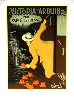 """""""La Victoria Arduino""""  by Leonetto Cappiello  This beautiful reproduction of a vintage advertising poster for   espresso in Italy by Leonardo Cappiello in 1922.   It features a man hanging out of a train to catch a cup of hot coffee or espresso. This piece would be a fantastic addition to a great kitchen. See more: http://smithgalleries.com/VintagePosters.htm"""