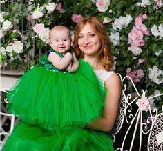 Christmas Mother and daughter skirt Mommy baby dress green