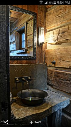 Would like one rustic bathroom