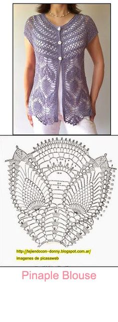 This feminine seamless vest is worked from the neck down in one piece starting with the yoke. Two beautiful stitch patterns are used – one for the yoke, and one for the bodice with picot hem. Simple edgings finish off the neckline and armholes. Crochet Coat, Crochet Shirt, Crochet Jacket, Crochet Cardigan, Crochet Clothes, Tunisian Crochet, Crochet Stitches, Crochet Designs, Crochet Dresses