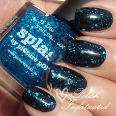 piCture pOlish Splash layered over black swatched by Polish Infatuated!  Beautiful Sharon!