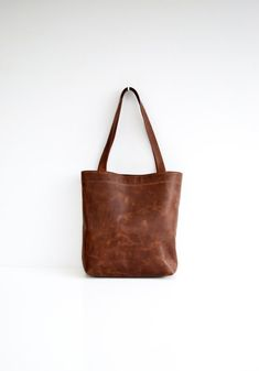 Classic Leather Tote Bag In Dark Brown Soft Antiqued Leather Cowhide Purse Leather Shoulder Bag Leather Work Tote Handmade Leather Handbag #leather #bag #gift #accessories #brown #tote