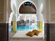 Most Beautifully Designed Spas Around the World Mamounia Spa at Morocco's La Mamounia hotel. One of AD's 11 most beautifully designed spas in the worldMamounia Spa at Morocco's La Mamounia hotel. One of AD's 11 most beautifully designed spas in the world Mamounia Marrakech, Riads In Marrakech, Marrakech Morocco, Morocco Hotel, Marrakech Hotels, Morocco Travel, Spas, Piscina Do Hotel, Best Honeymoon Destinations