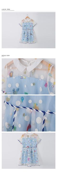 韓系-刺繡點點水彩印花有領絲紗洋裝【R51652-05】 - A-SO-BI Fashion Shop